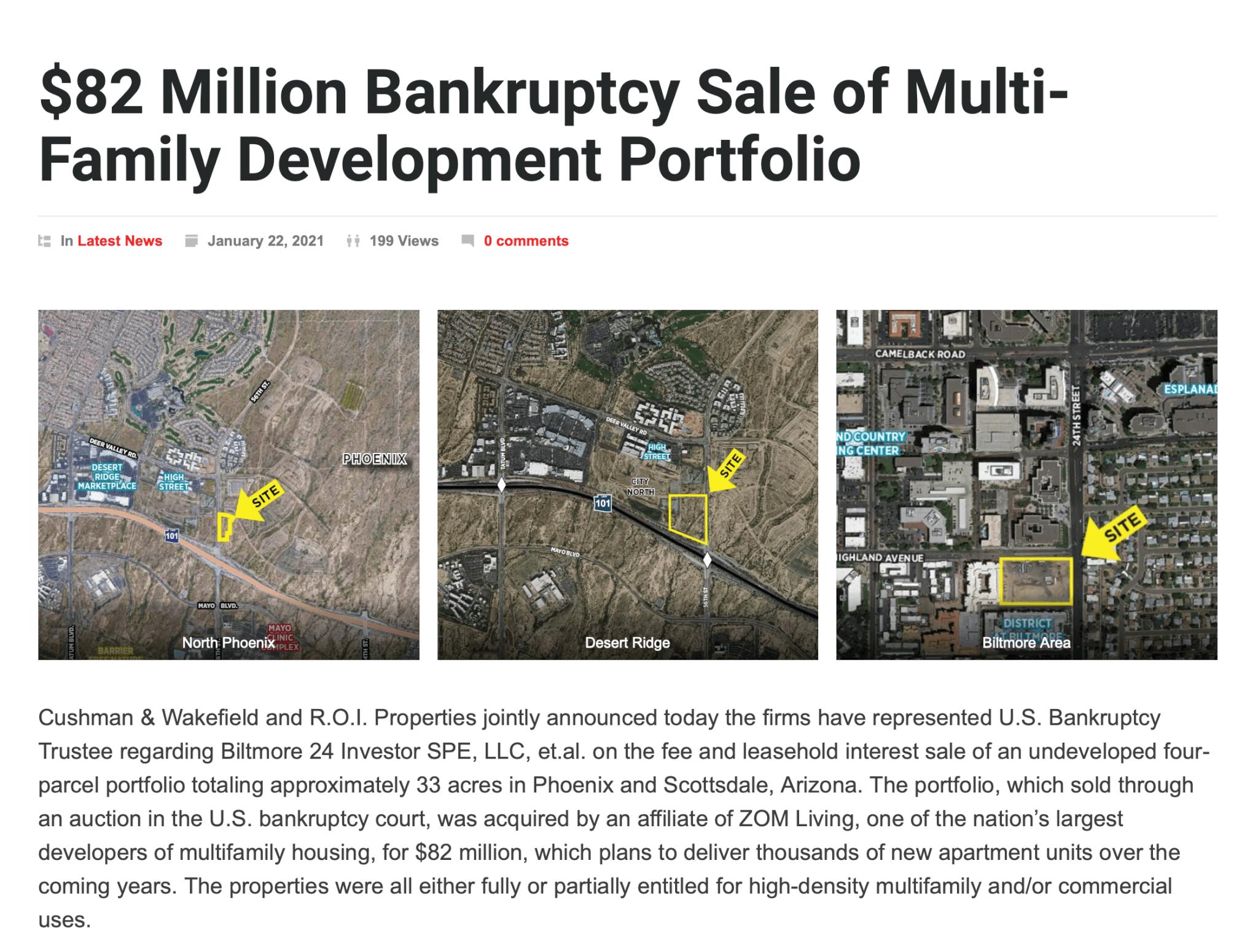 82 Million Bankruptcy Sale of Multi-Family Development Portfolio