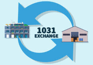 1031 Exchange graphic depicting the swap of an industrial building for a multifamily building