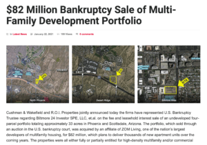 82 Million Bankruptcy Sale of Multi-Family Development Portfolio