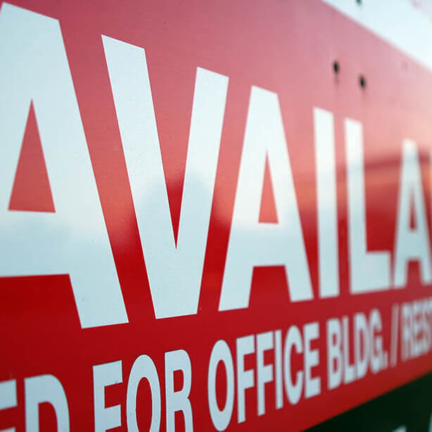 Real Estate Sign Showing Office Properties For Lease